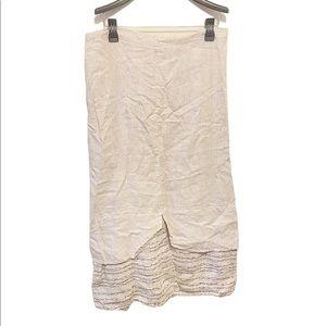 Flax Linen Elastic Waist Embroidered Maxi Skirt